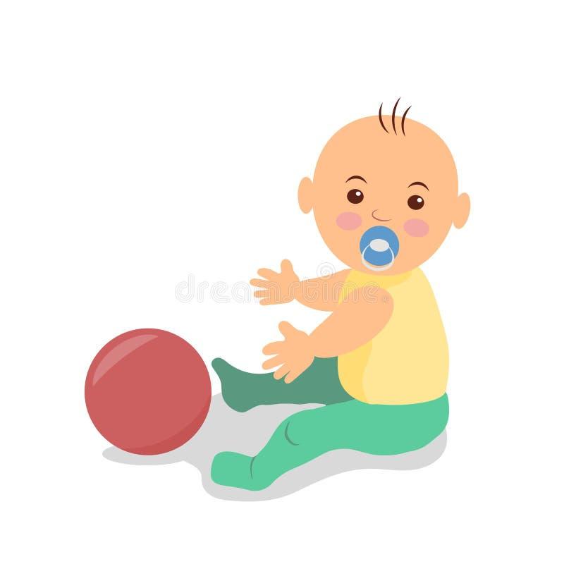 Petit bébé s'asseyant sur le plancher et jouant avec une boule Illustration d'isolement de vecteur illustration de vecteur