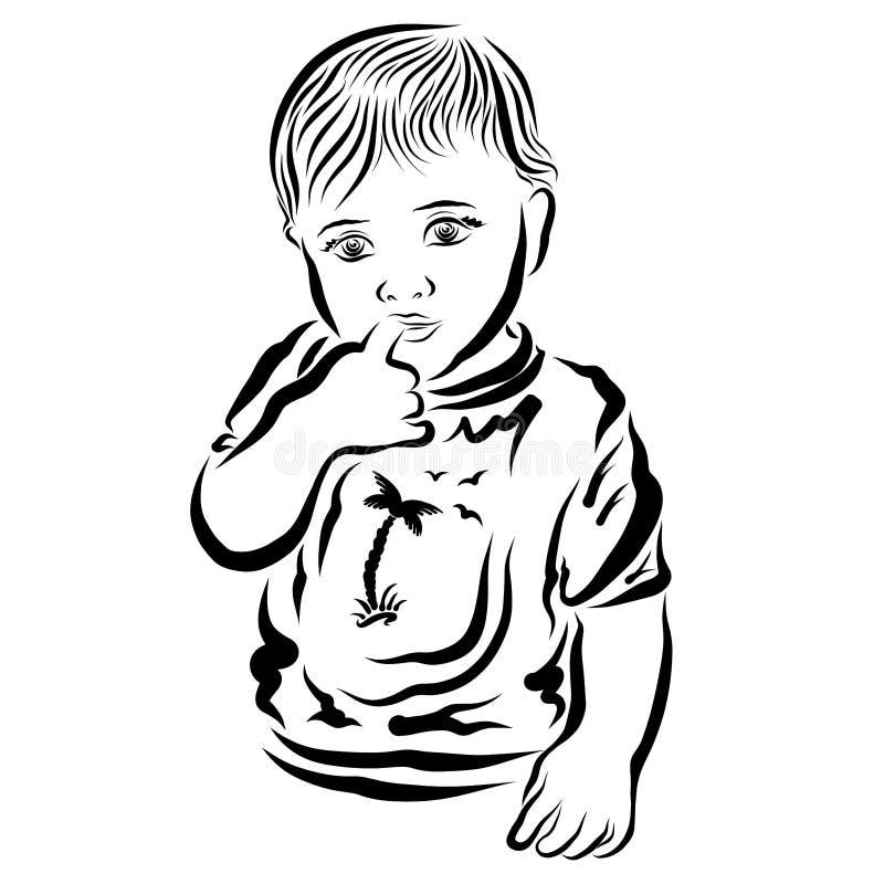 Petit bébé songeur avec le doigt dans la bouche illustration libre de droits