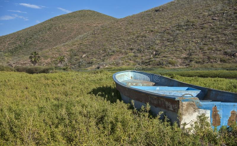 Petit bateau de pêche abandonné dans les prairies mexicaines photos libres de droits