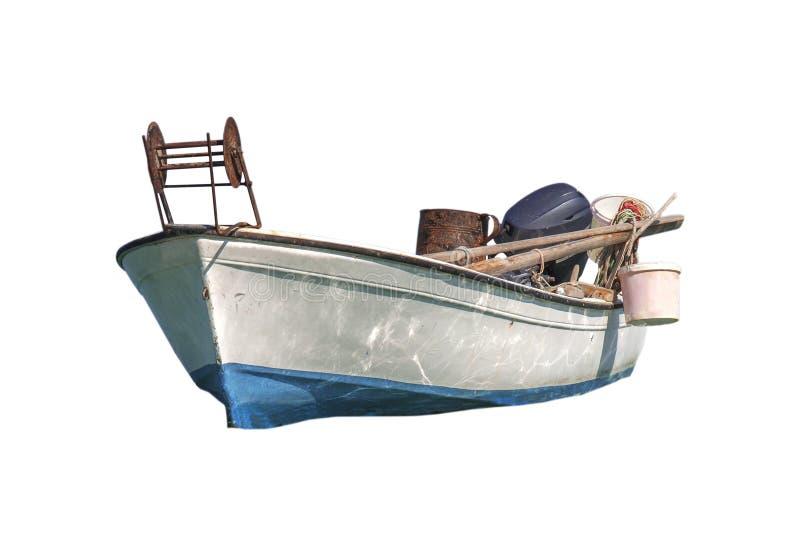 Petit bateau de poissons blancs d'isolement sur le blanc images stock