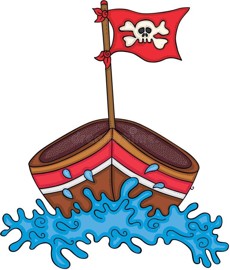 Petit bateau en bois avec le drapeau de crâne illustration de vecteur