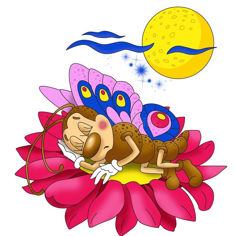 Petit beau papillon dormant sur une fleur image libre de droits