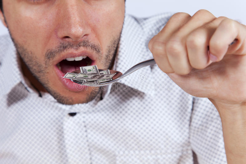 Petit billet de banque mangeur d'hommes du dollar photos libres de droits