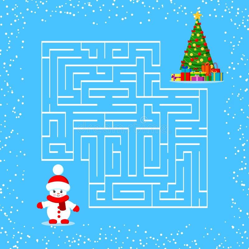 Petit bonhomme de neige de bande dessinée et arbre de Noël décoré avec des cadeaux sous l'arbre Bonhomme de neige trouvant l'arbr illustration libre de droits