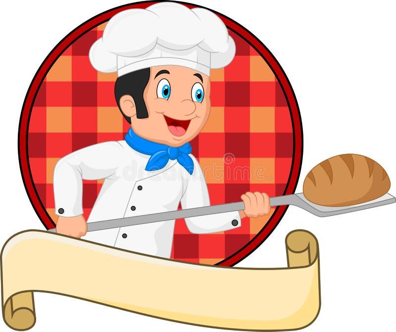 Petit boulanger de chef tenant l'outil de peau de boulangerie avec du pain illustration libre de droits