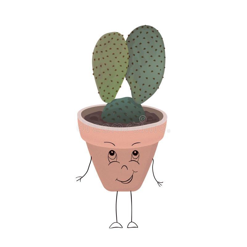 Petit cactus avec des oreilles d'un lièvre dans un pot de fleur, d'isolement sur le fond blanc illustration de vecteur