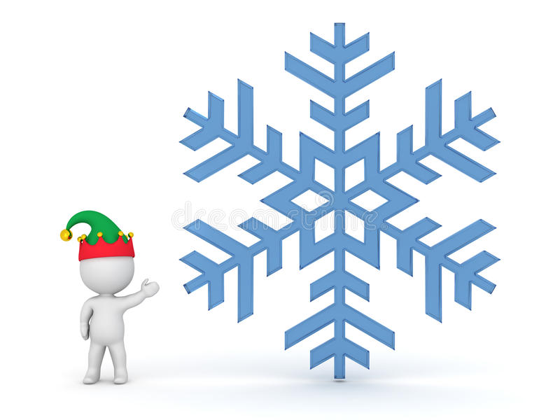 Petit caractère 3D avec le chapeau d'Elf montrant le grand flocon de neige illustration de vecteur
