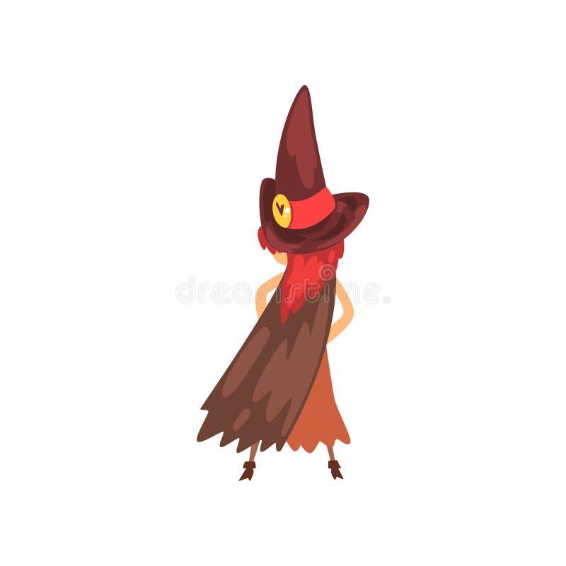 Petit caractère mignon de sorcière, fille dans l'illustration de vecteur de bande dessinée de costume de Halloween sur un fond bl illustration stock