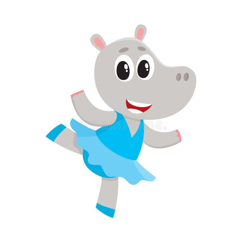 Petit caractère mignon heureux d'hippopotame, danseur classique dans la jupe de tutu illustration libre de droits
