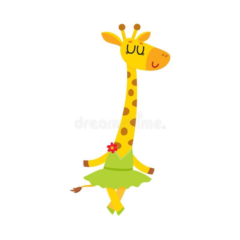 Petit caractère mignon heureux de girafe, danseur classique dans la jupe de tutu illustration libre de droits