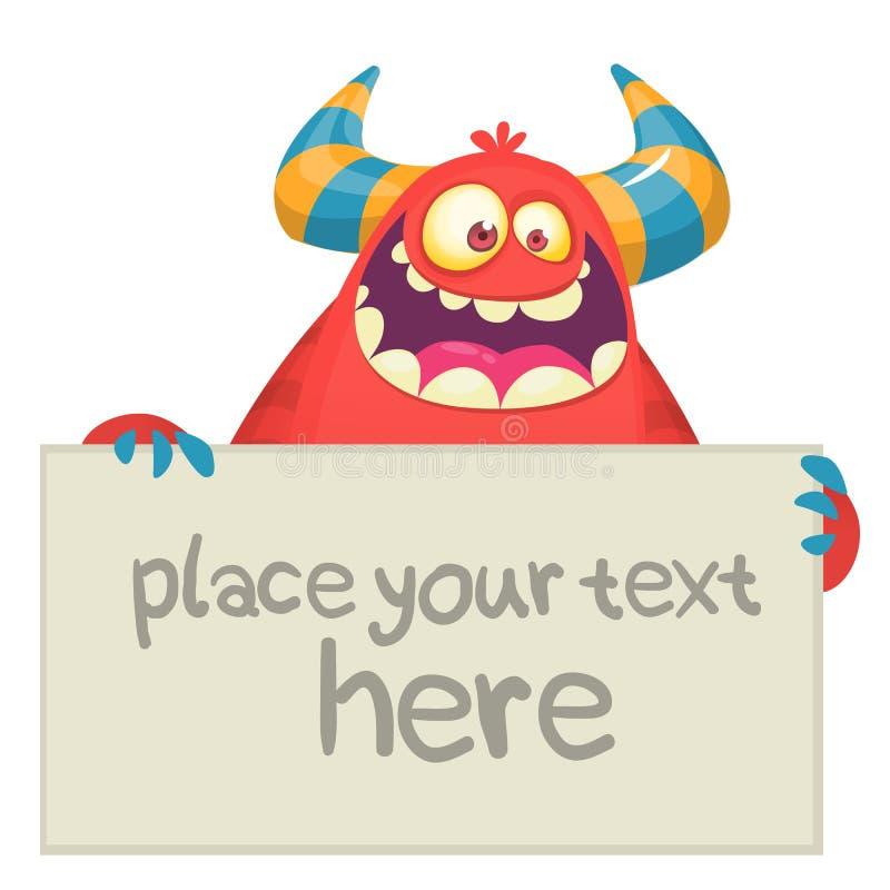Petit caractère rouge mignon de mascotte de bande dessinée de monstre tenant un signe vide Illustration de vecteur illustration stock