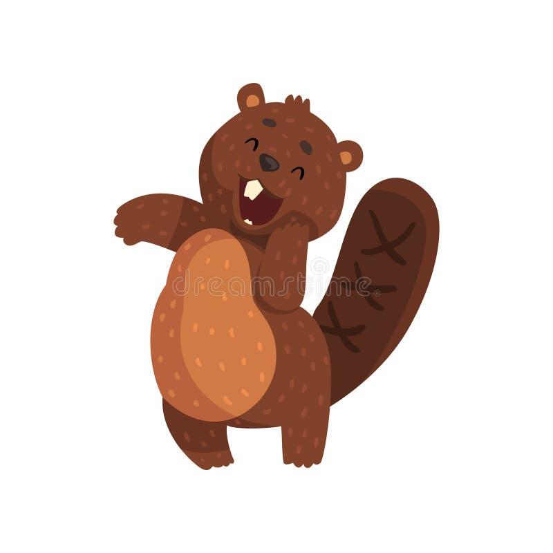 Petit castor timide avec le museau mignon Animal adorable de forêt illustration libre de droits