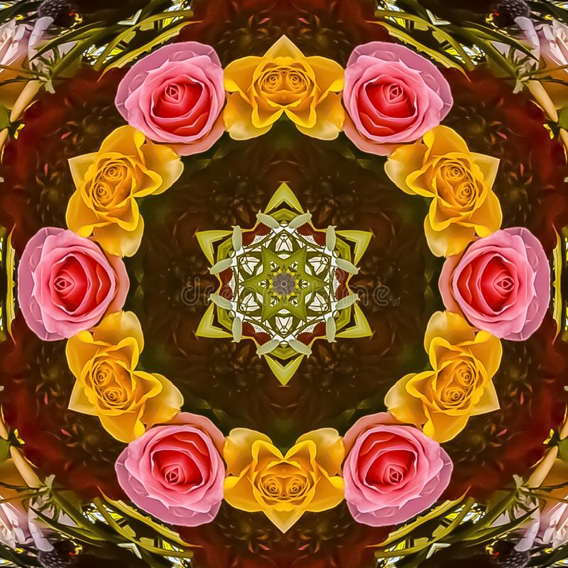 Petit cercle de place des roses dans un affichage de conception florale illustration libre de droits