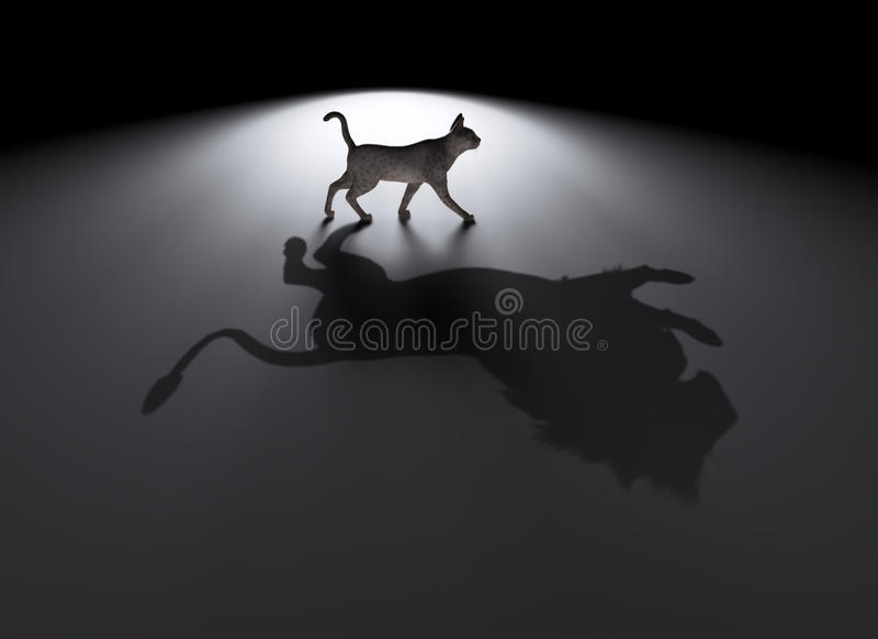 Petit chat avec un grand rêve illustration stock