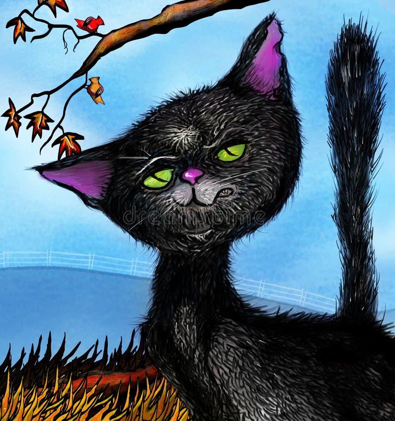 Petit chat noir de grondement illustration libre de droits