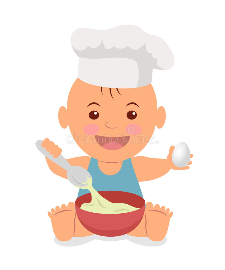Petit chef mignon L'enfant en bas âge dans un chapeau de cuisinier avec une cuillère et un oeuf dans les mains malaxent la pâte illustration libre de droits