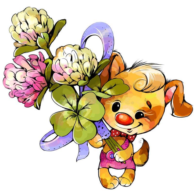 Petit chiot avec un beau bouquet des fleurs photographie stock libre de droits