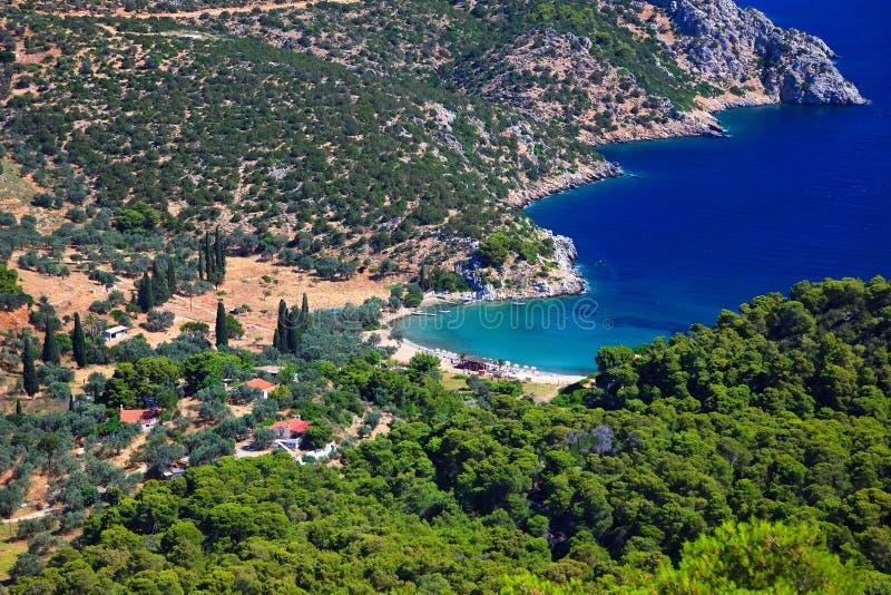 Petit compartiment tranquille sur l'île grecque photographie stock libre de droits