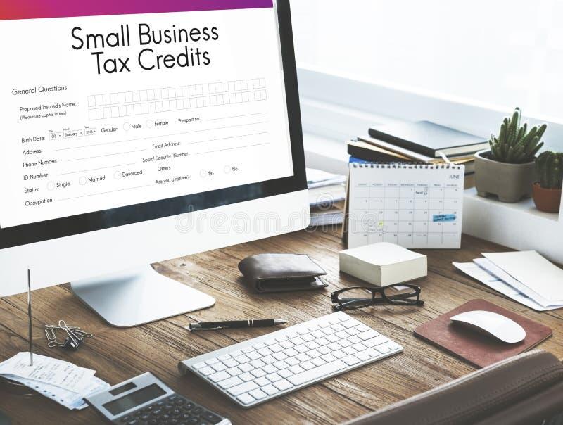 Petit concept de créneau de crédits d'impôt de forme de prêt aux entreprises photos libres de droits