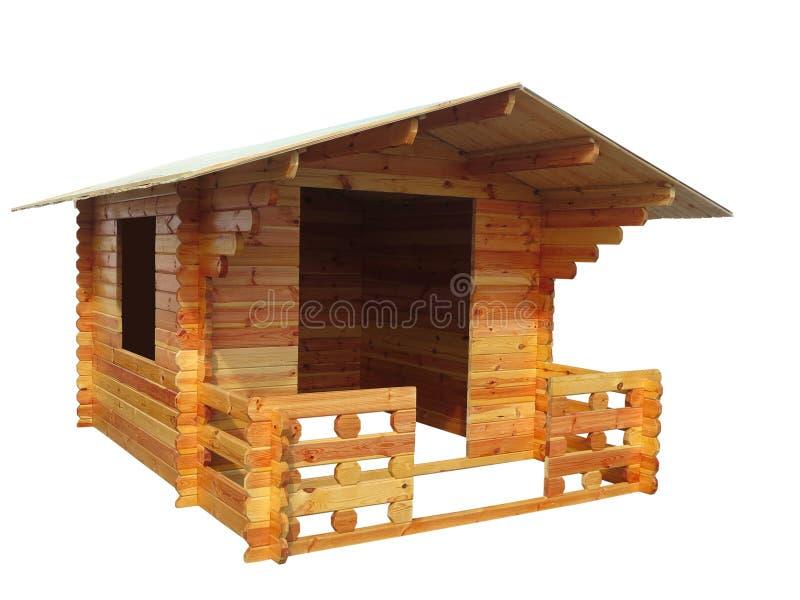 Petit concept en bois abstrait de maison d'isolement au-dessus du blanc illustration de vecteur