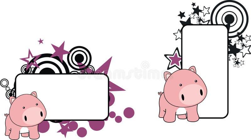 Petit copyspace doux de bande dessinée de porc de bébé illustration libre de droits