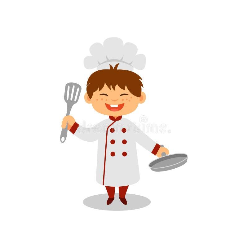 Petit cuisinier heureux avec la casserole et la spatule dans des mains Garçon gai dans l'uniforme de chef Le travail rêveur Conce illustration stock