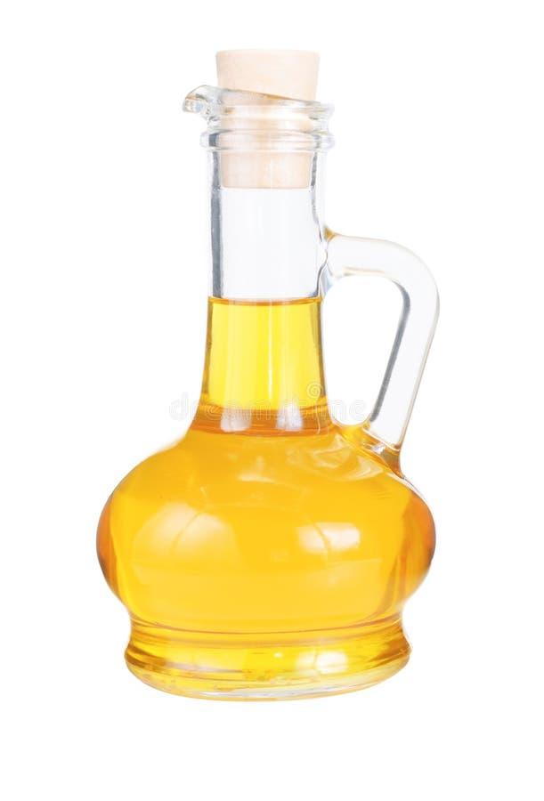 Petit décanteur avec de l'huile de tournesol photo stock