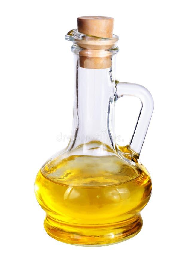 Petit décanteur avec l'huile d'olive sur le blanc photos libres de droits