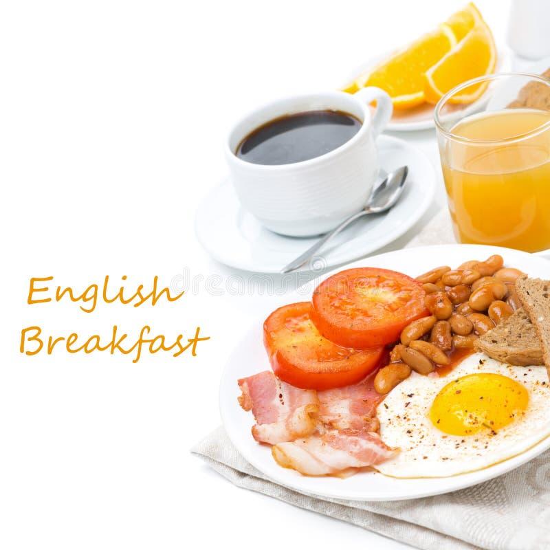 Petit déjeuner anglais traditionnel avec des oeufs au plat photo libre de droits