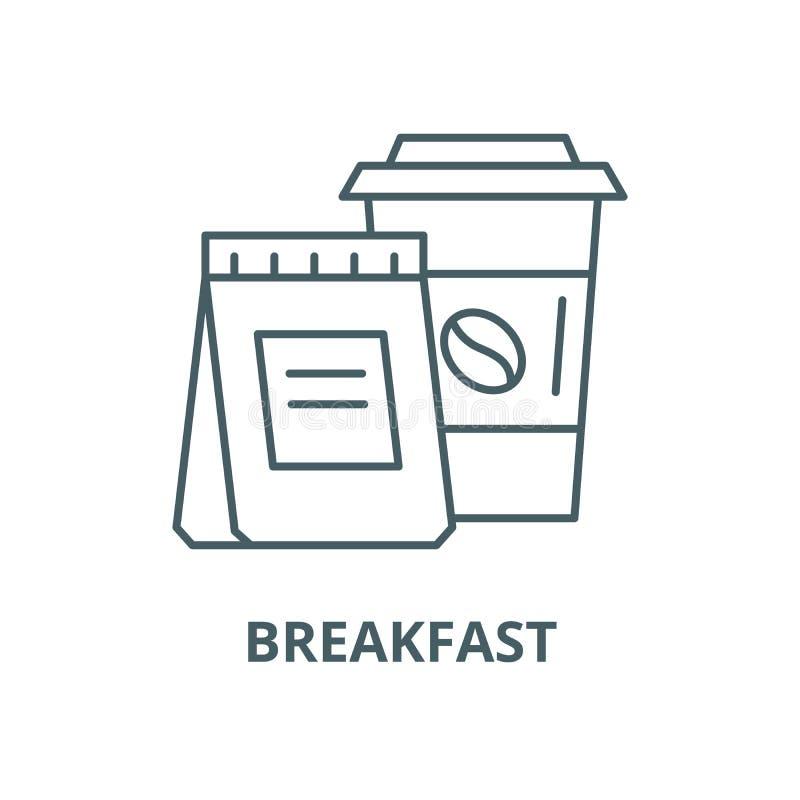 Petit déjeuner avec vous ligne icône, concept linéaire, signe d'ensemble, symbole de vecteur illustration stock
