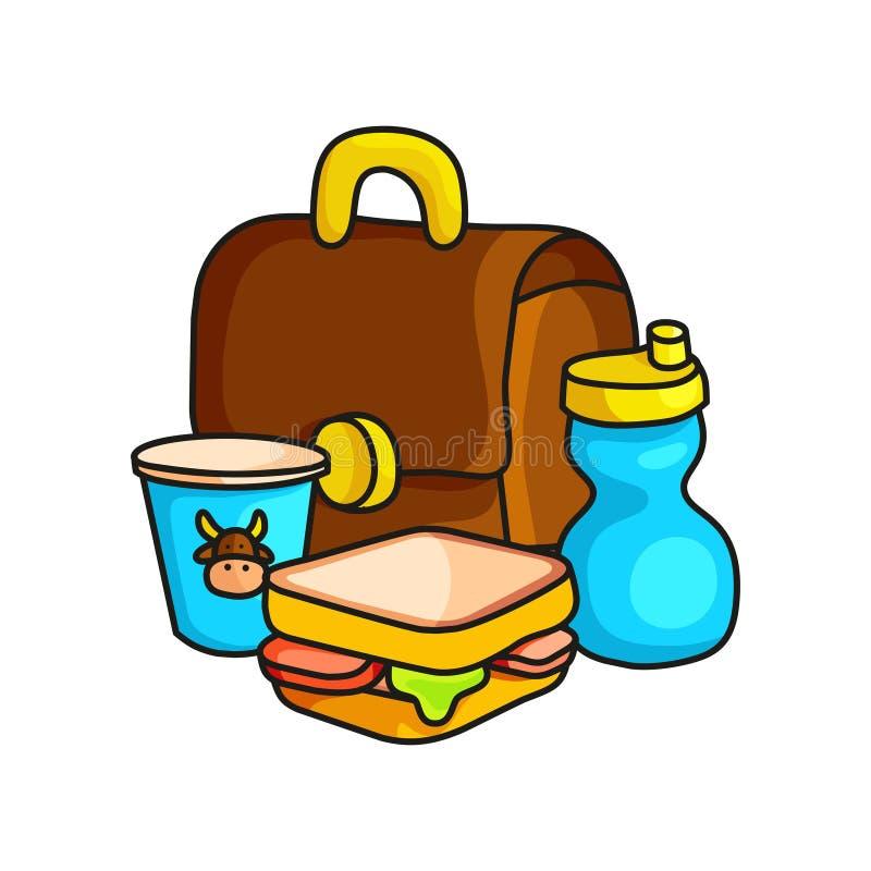 Petit déjeuner d'école dans le sac avec du lait, le yaourt et le sandwich illustration libre de droits