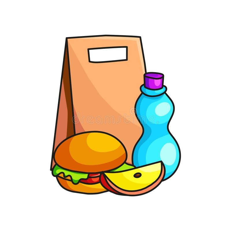 Petit déjeuner d'école en paquet de papier avec la tranche d'hamburger, de yaourt et de pomme illustration de vecteur