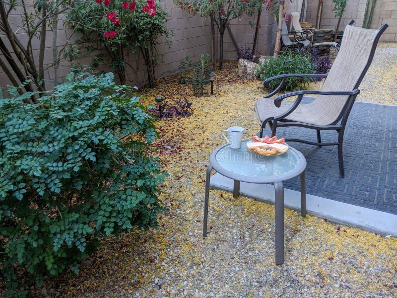 Petit déjeuner d'arrière-cour au printemps photo libre de droits