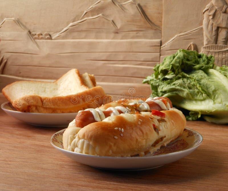 Petit déjeuner de pain de saucisse photo libre de droits