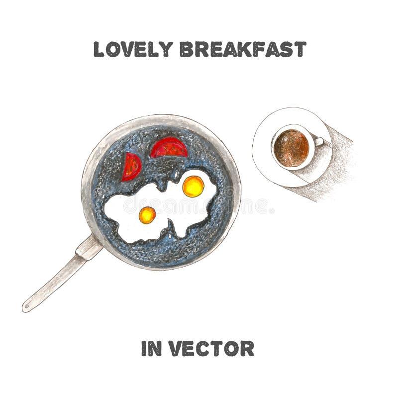 Download Petit Déjeuner De Vecteur Par Des Crayons De Couleur Illustration Stock - Illustration du illustration, conception: 56481579