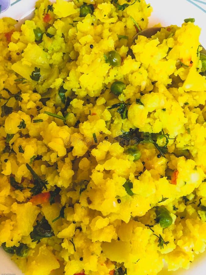 Petit déjeuner et casse-croûte indiens de Poha photographie stock