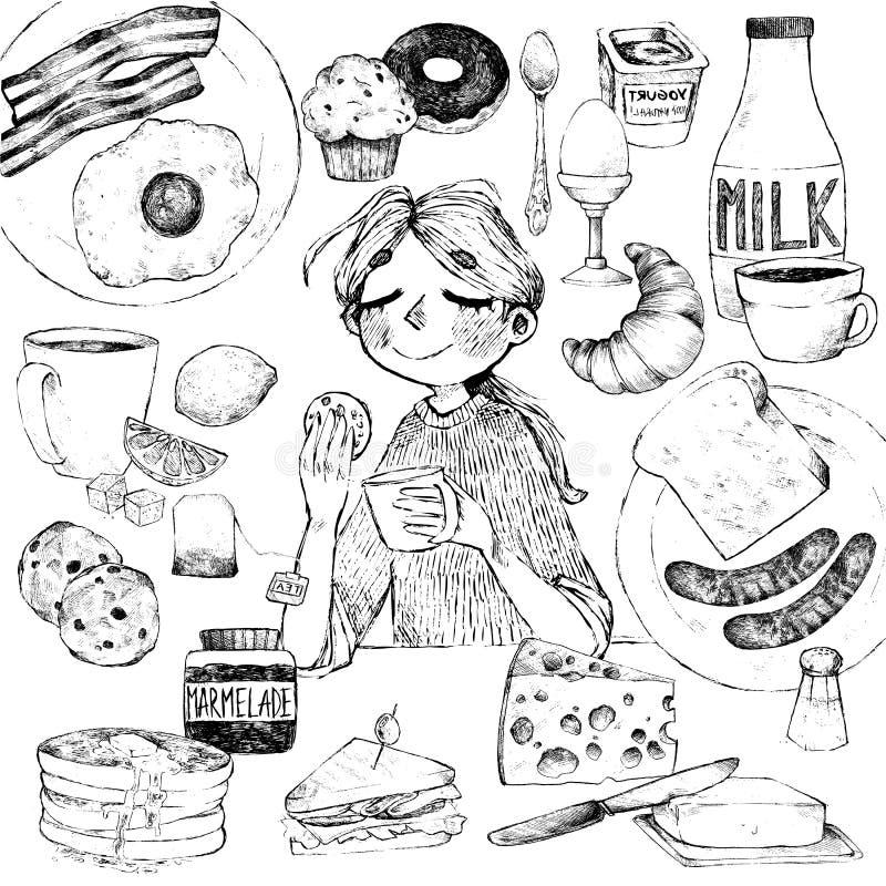 Petit déjeuner et fille illustration de vecteur
