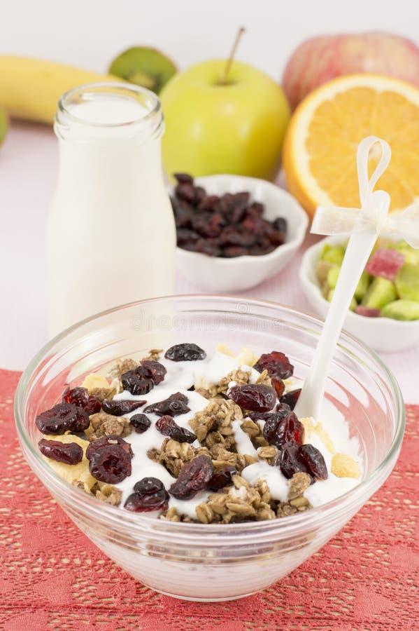 Petit déjeuner macrobiotique sain avec des céréales et le lait photo libre de droits