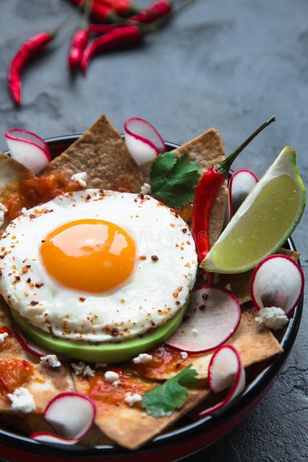 Petit déjeuner mexicain : chilaquiles avec l'oeuf, l'avocat et le plan rapproché de légumes d'un plat images stock