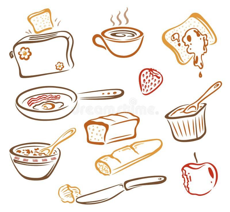 Petit déjeuner, nourriture illustration libre de droits