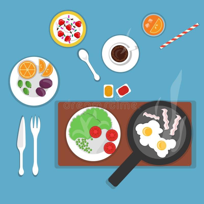 Petit déjeuner plat de vecteur avec des oeufs illustration de vecteur