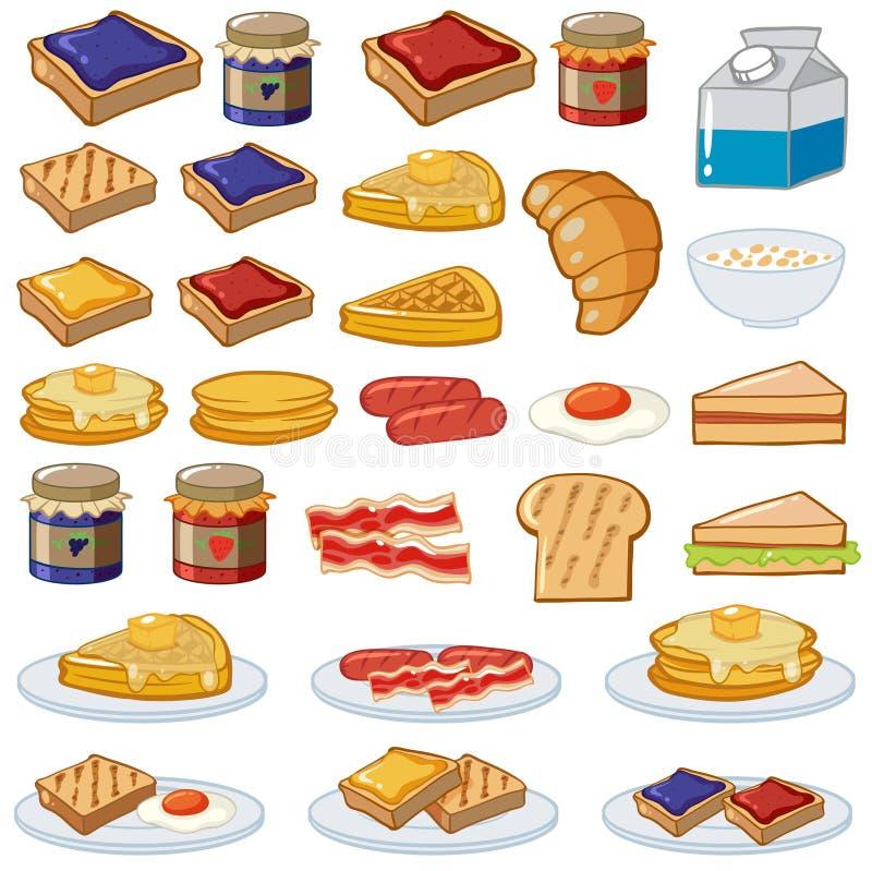 Petit déjeuner réglé avec différents genres de nourriture illustration de vecteur