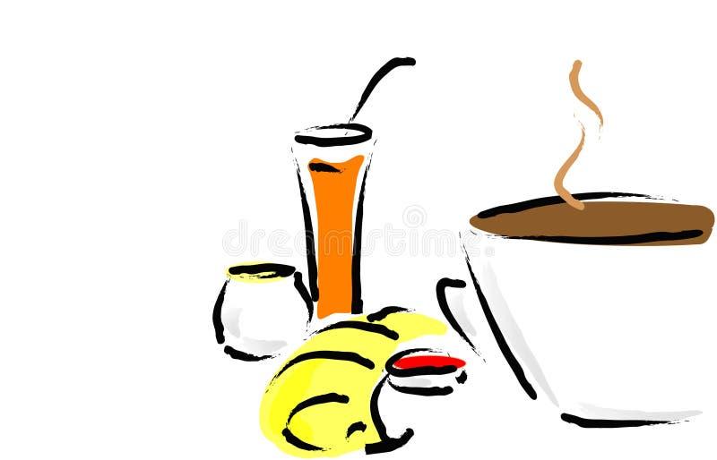 Petit déjeuner sain français illustration stock