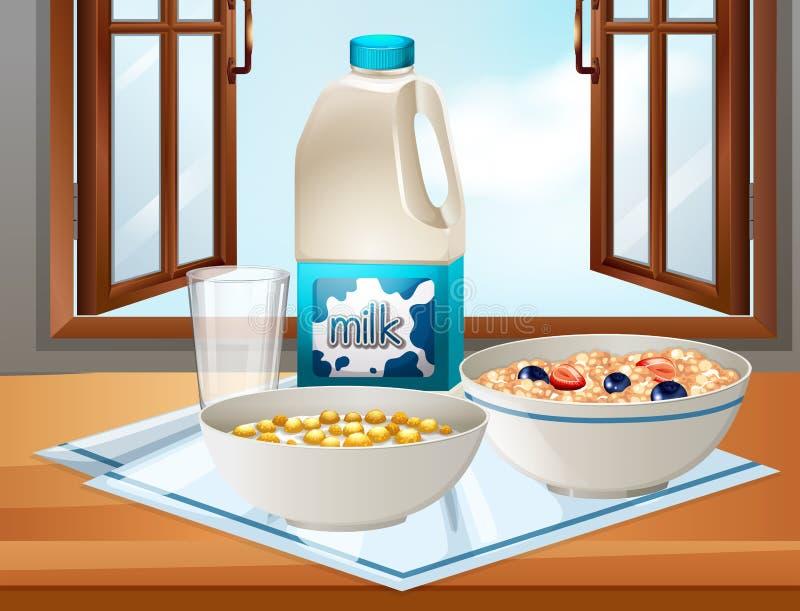 Petit déjeuner sur la table avec du lait et la céréale illustration de vecteur