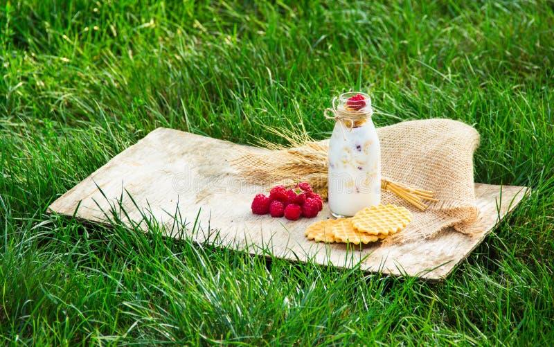 Petit déjeuner sur un pré vert Smoothies et gaufres faites maison avec des framboises Concept saisonnier images stock