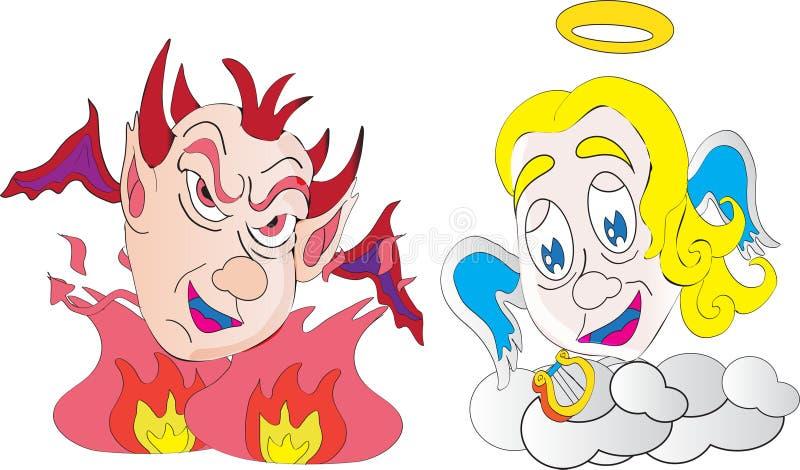 Petit démon et ange illustration stock