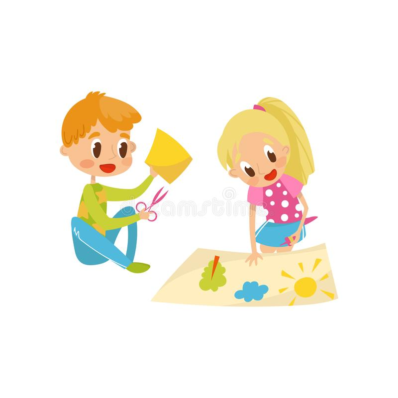 Petit détails mignons d'application de coupe de garçon et de fille, créativité d'enfants, éducation et vecteur de concept de déve illustration de vecteur