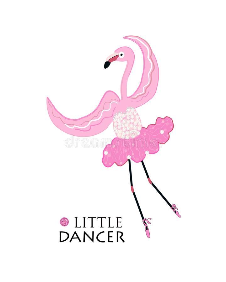 Petit danseur Flamant de ballerine de danse Conception de T-shirt de mode illustration libre de droits