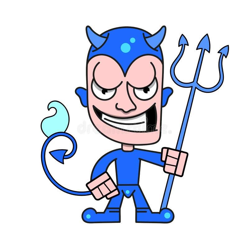 Petit diable mignon avec des klaxons et Trident flamboyant, logo de vecteur illustration de vecteur