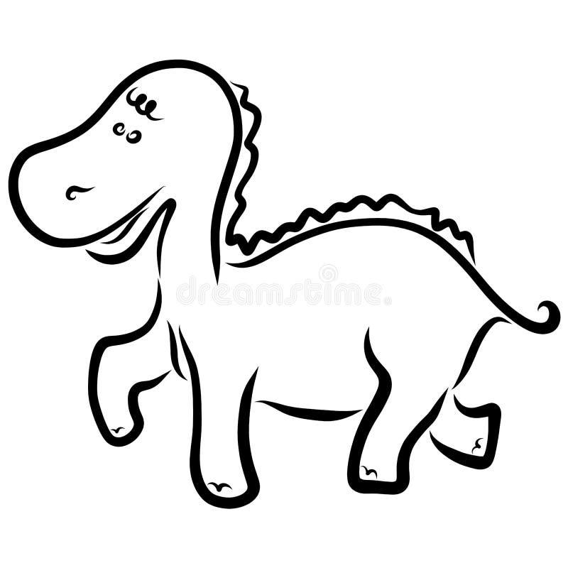 Petit dinosaure drôle, contour noir, la coloration des enfants illustration libre de droits